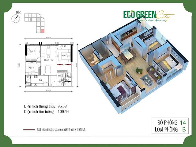 Thiết kế căn hộ 14 tòa CT2 Eco green city