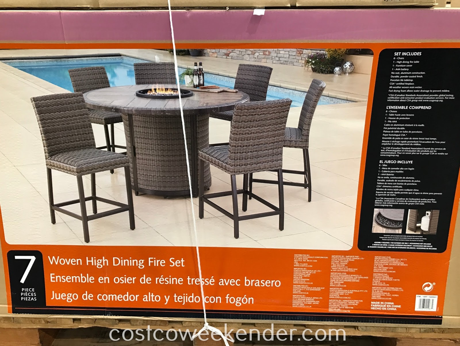 Costco 1500041 - Agio Woven High Dining Set with Firetable features a firetable
