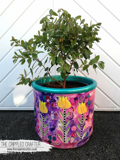 Upcycled plant pot by Sam Lewis AKA The Crippled Crafter