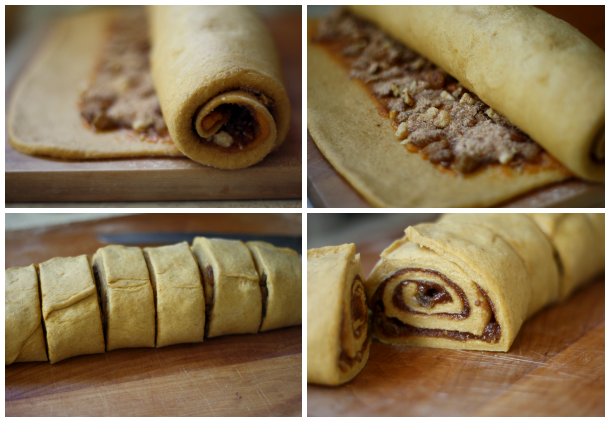 pumpkin spice dough filled, rolled, and cut