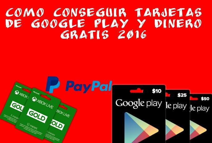 Como conseguir Tarjetas Google Play Gratis 2016