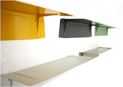 steel shelf, bracket is part of the shelf