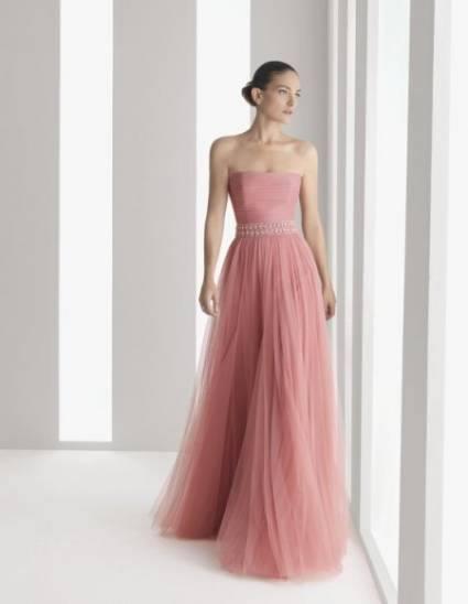 Vestido de festa longo rosa queimado