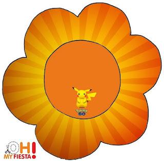 Tarjeta con forma de flor de Pikachu.