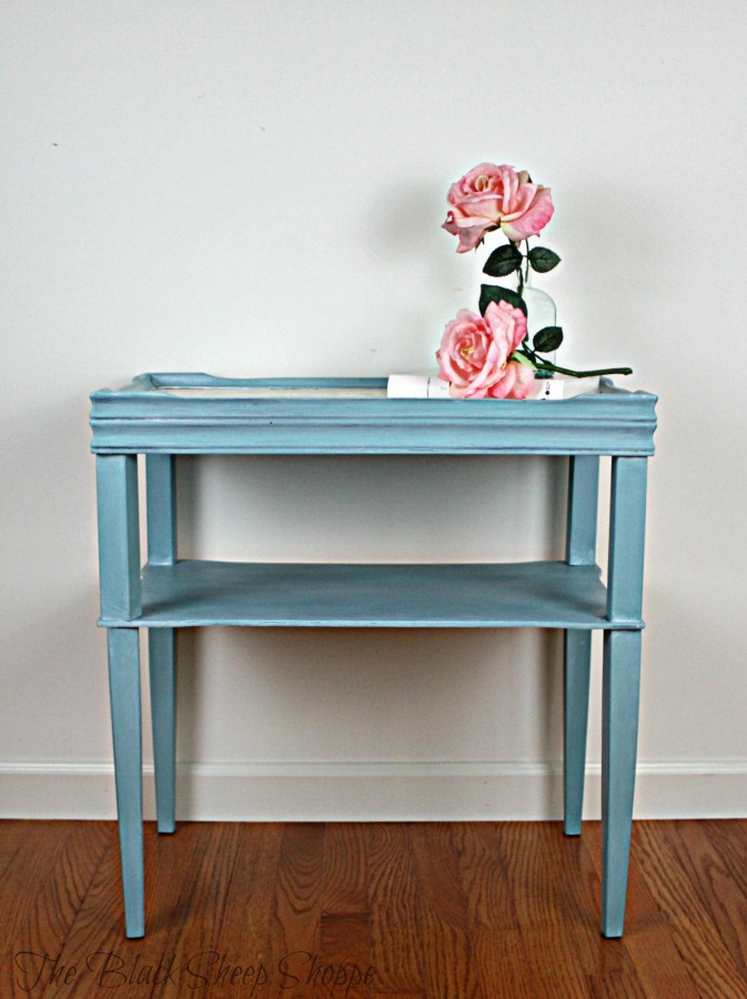 Side table painted in Provence blue chalk paint with a white glaze.