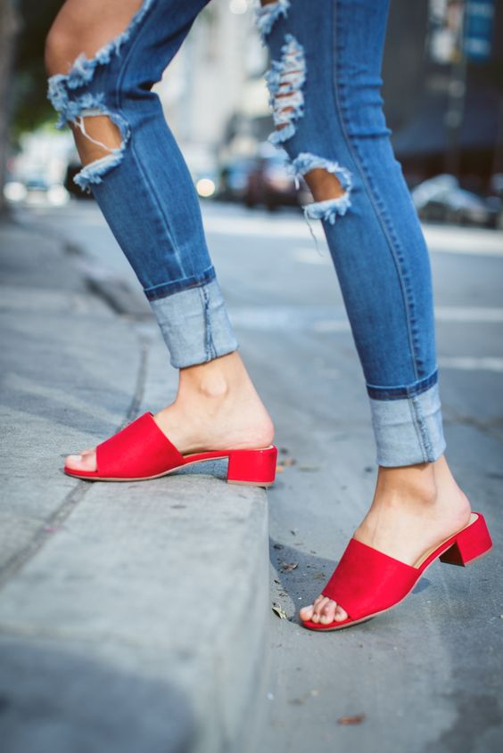 mules, low heeled, denim