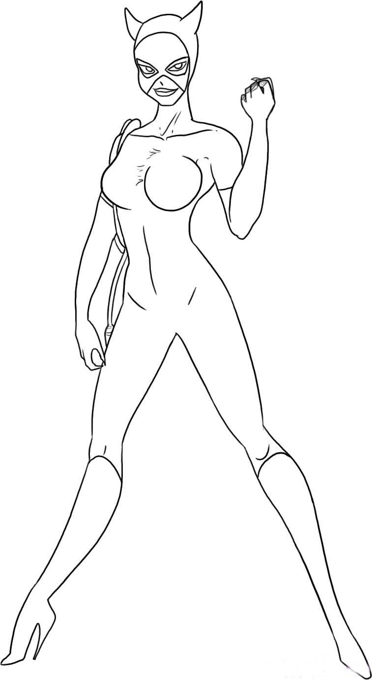 Catwoman Coloring Picture For Kids Pics