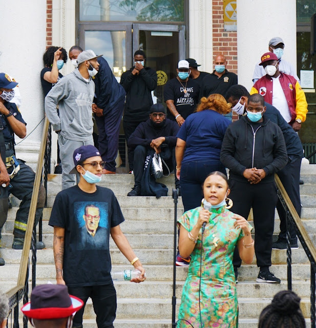 """Fashion designer Madison Star Brim speaks at Mount Vernon City Hall in New York during """"We Can't Breathe"""" rally on Tuesday, June 2, 2020."""