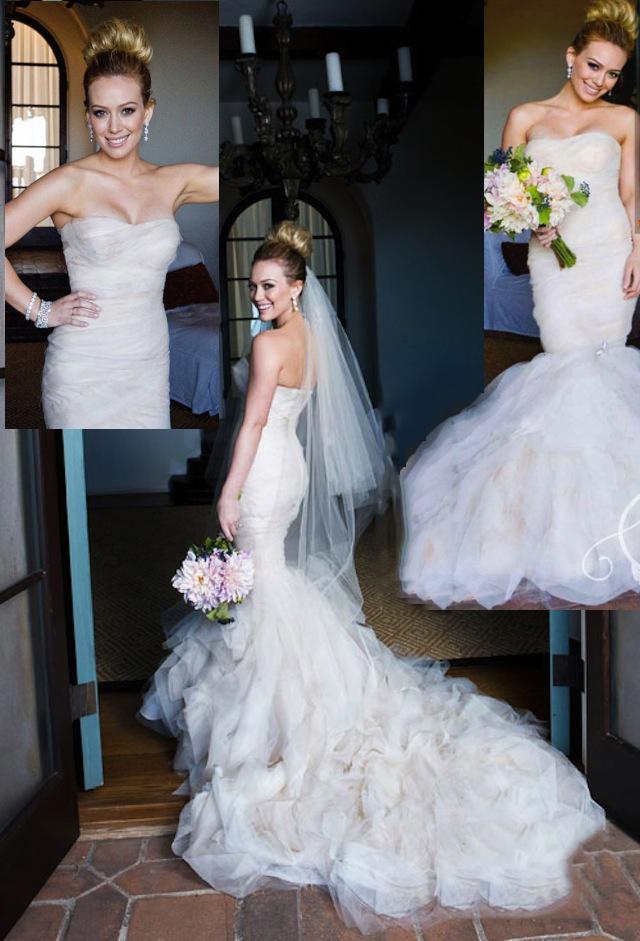 Hilary Duff Vera Wang Wedding Dress Inspired Mermaid Organza Bridal Gown