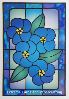 blue flowers faux stained glass card example