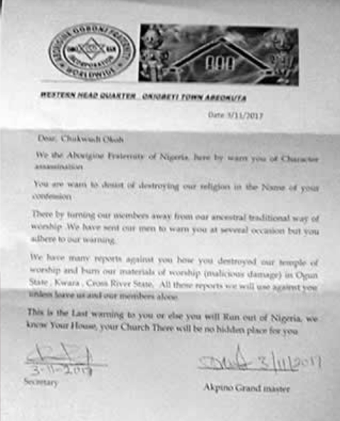 ogboni death threat letter lagos Pastor