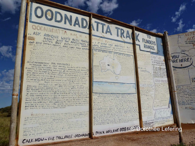 A large road sign explaing the rules for the Oodnadatta track.