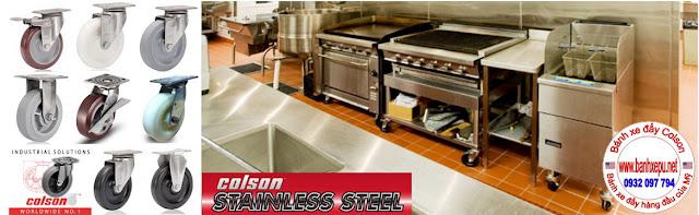 Bánh xe đẩy Nylon càng thép không rỉ inox 304 Colson phi 150 | 64002