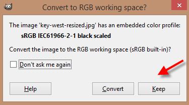 GIMP RGB converstion