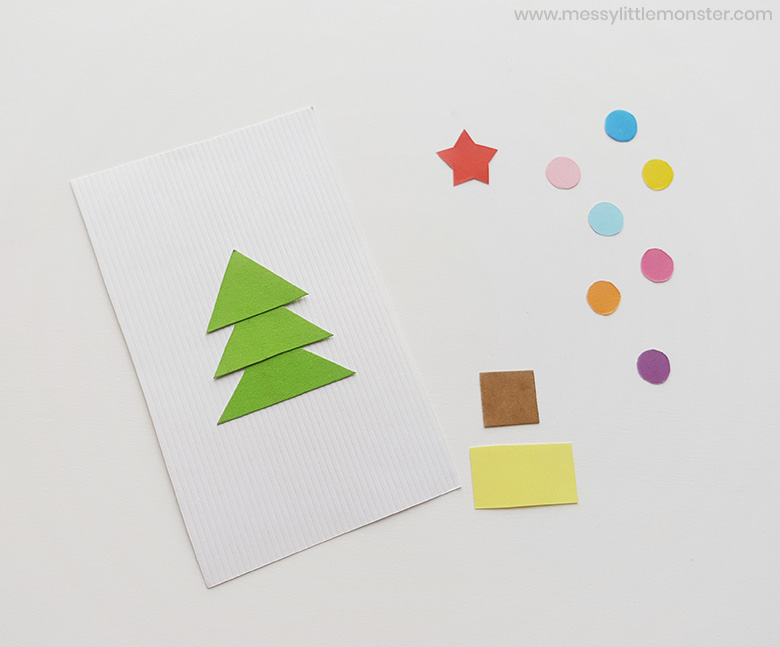 Christmas tree craft - Christmas shape activity for preschoolers
