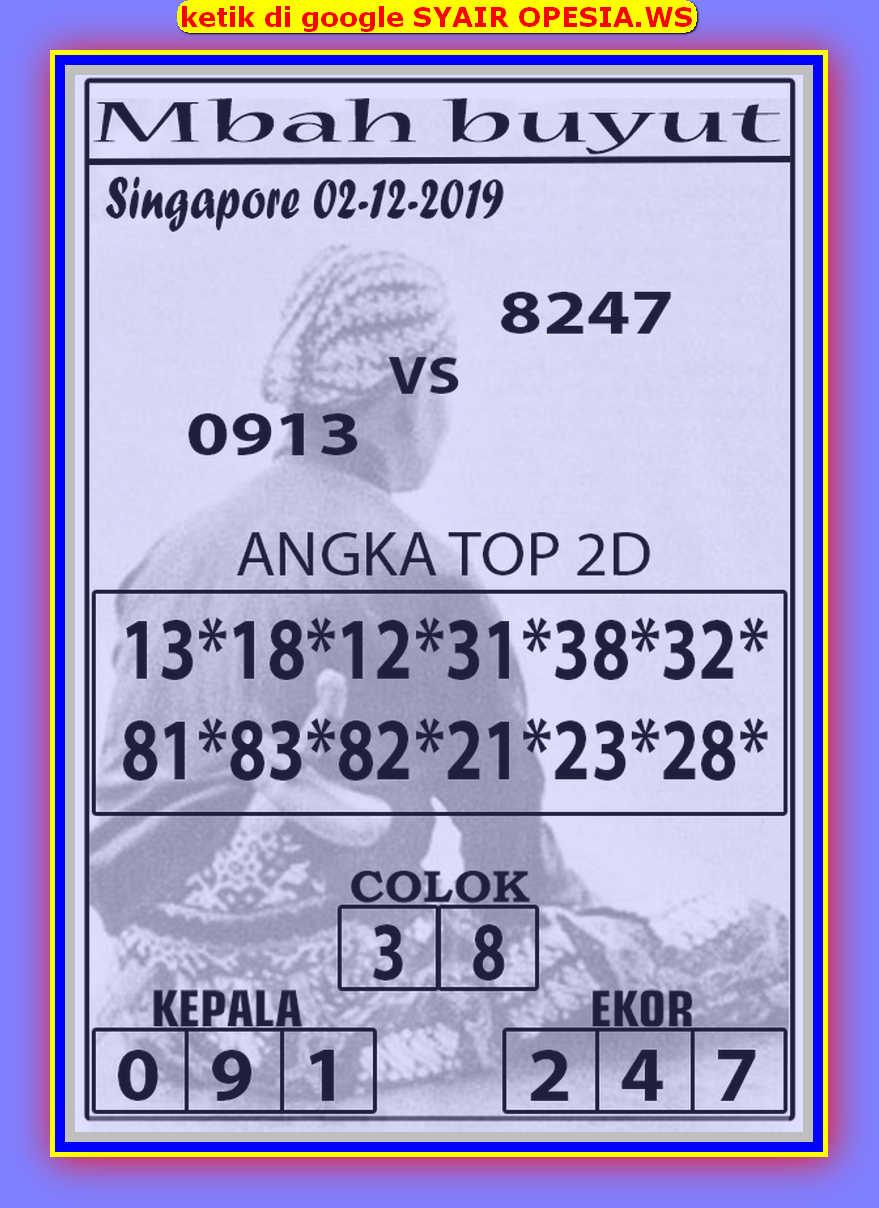 Kode syair Singapore Senin 2 Desember 2019 35