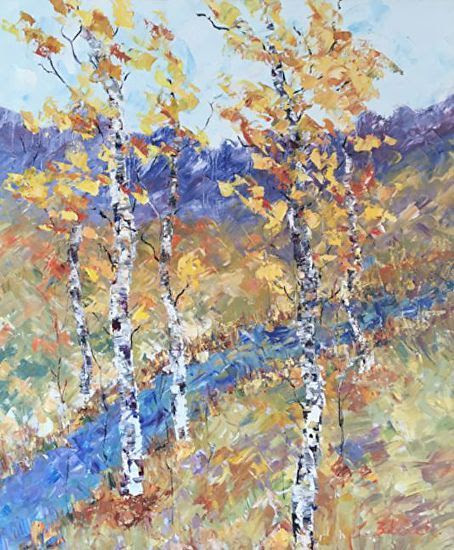 "Palette Knife Aspen Tree Colorado Landscape Painting ""Along The Stream"""" by Colorado Impressionist Judith Babcock"