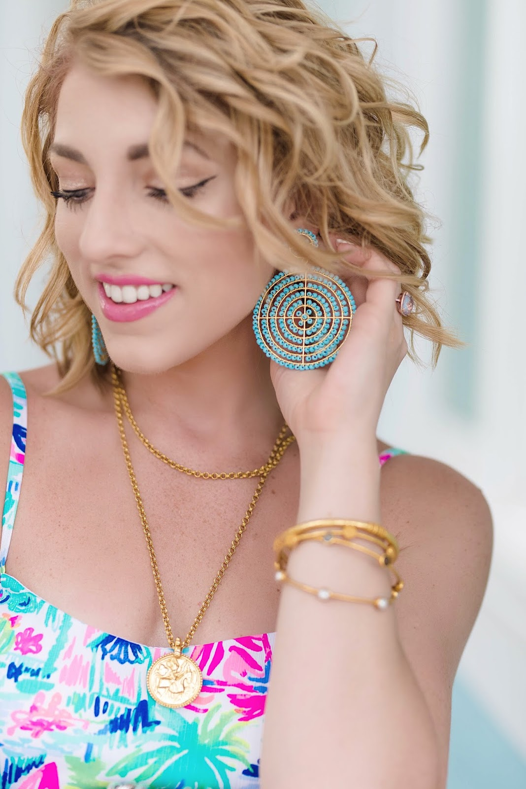 Lisi Lerch Turquoise Disk Earrings in Turquoise - Something Delightful Blog