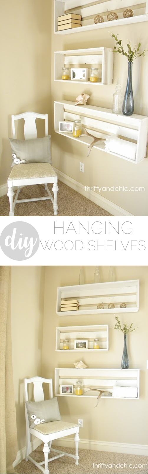 DIY farmhouse style hanging shelves made from wood or reclaimed wood. Farmhouse decor and decorating ideas