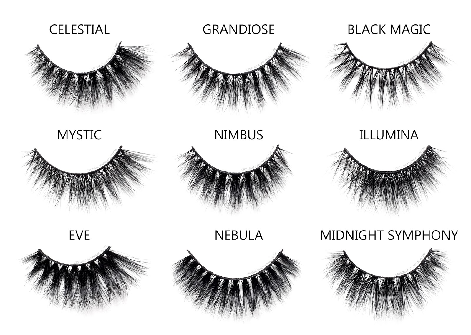 Esqido Mink Lashes Noire Collection Mystic Grandiose Illumina Eve Celestial Midnight Symphony Black Magic Nebula Nimbus Comparison