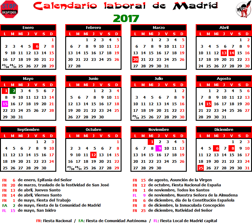 Gatos sindicales mad calendario laboral 2017 madrid for Eventos madrid mayo 2017