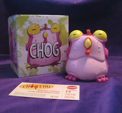 "CHEW x Skeleton Crew Studio Original Pink and Yellow Chog Vinyl Figure with replica ""In The Kitchen with Chow Chu"" Television Show Ticket"