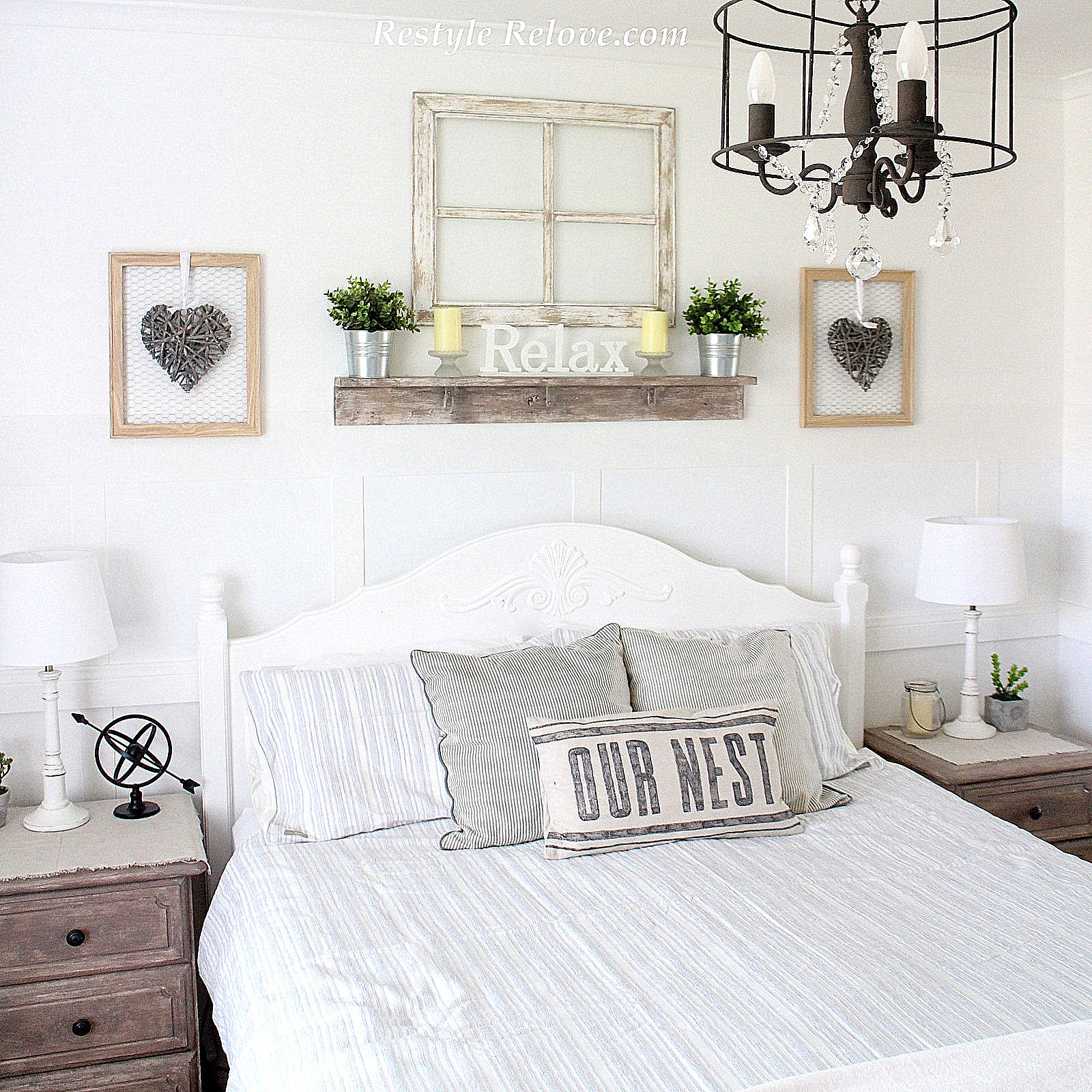 New Rustic Farmhouse Bedside Lamps in the Master Bedroom on Master Bedroom Farmhouse Bedroom Images  id=56778