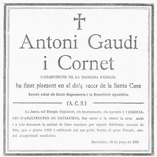 La mort de Gaudi