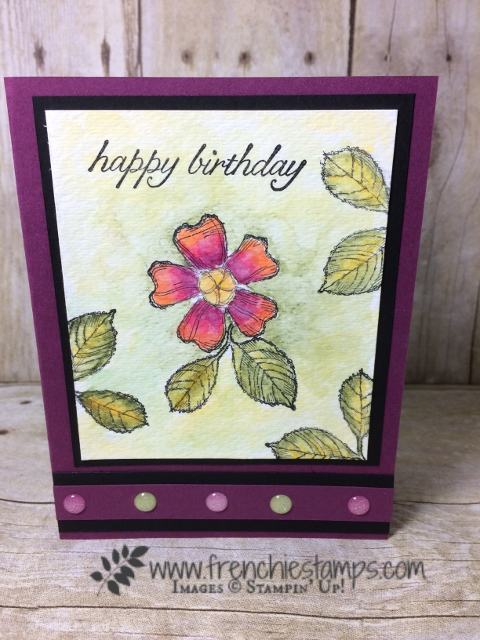 Birthday Blooms, Watercolor Full Canvas,Glitter Enamel Dots,  Stampin'Up!, Frenchiestamps,