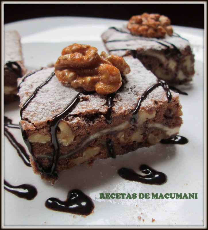 Brownie de nueces y queso