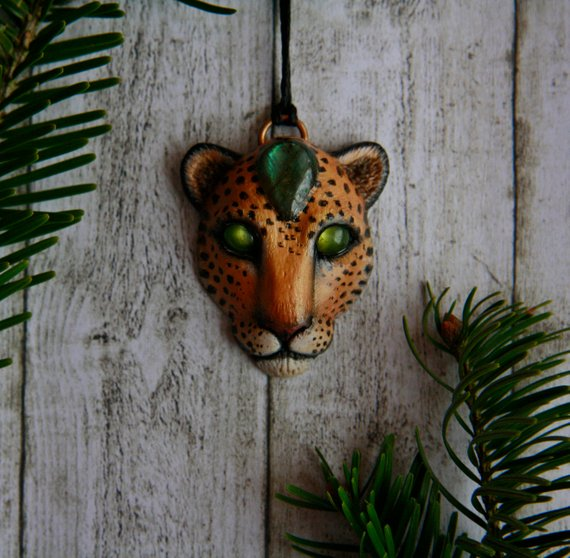 yunocrafts' polymer clay animal pendant jaguar