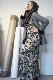 Gamis Batik Kombinasi Bahan Polos