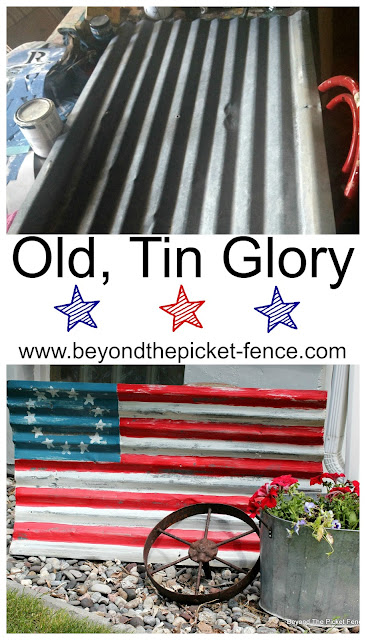 use old corrugated tin to make a flag