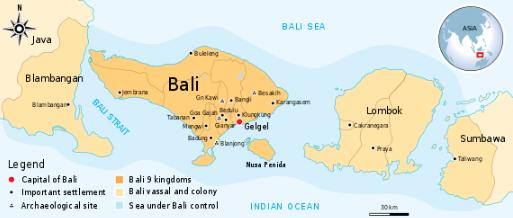 Luas maksimum Kerajaan Gelgel Bali pada pertengahan abad ke-16