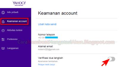 kemanan akun yahoo verifikasi dua langkah email