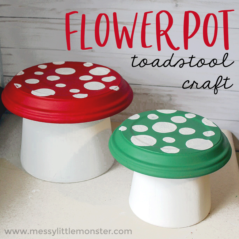 Step by step instructions to make a flower pot toadstool. A magical clay pot craft for kids. Young children will love this easy garden project and the diy toadstools are perfect for a fairy garden.