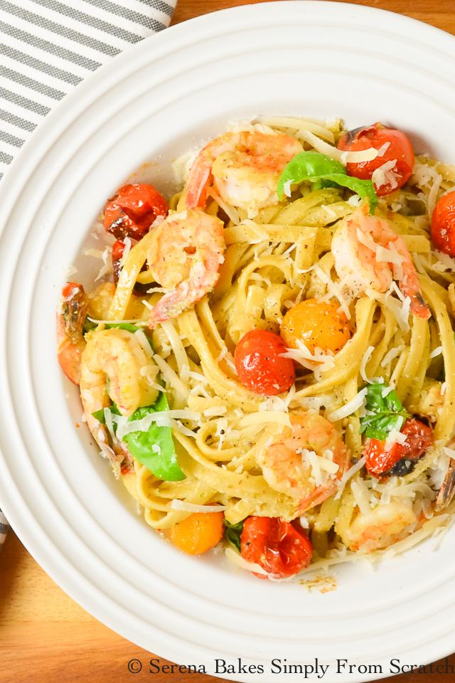 Shrimp Pasta In Walnut Basil Pesto With Roasted Tomatoes is a family fav!