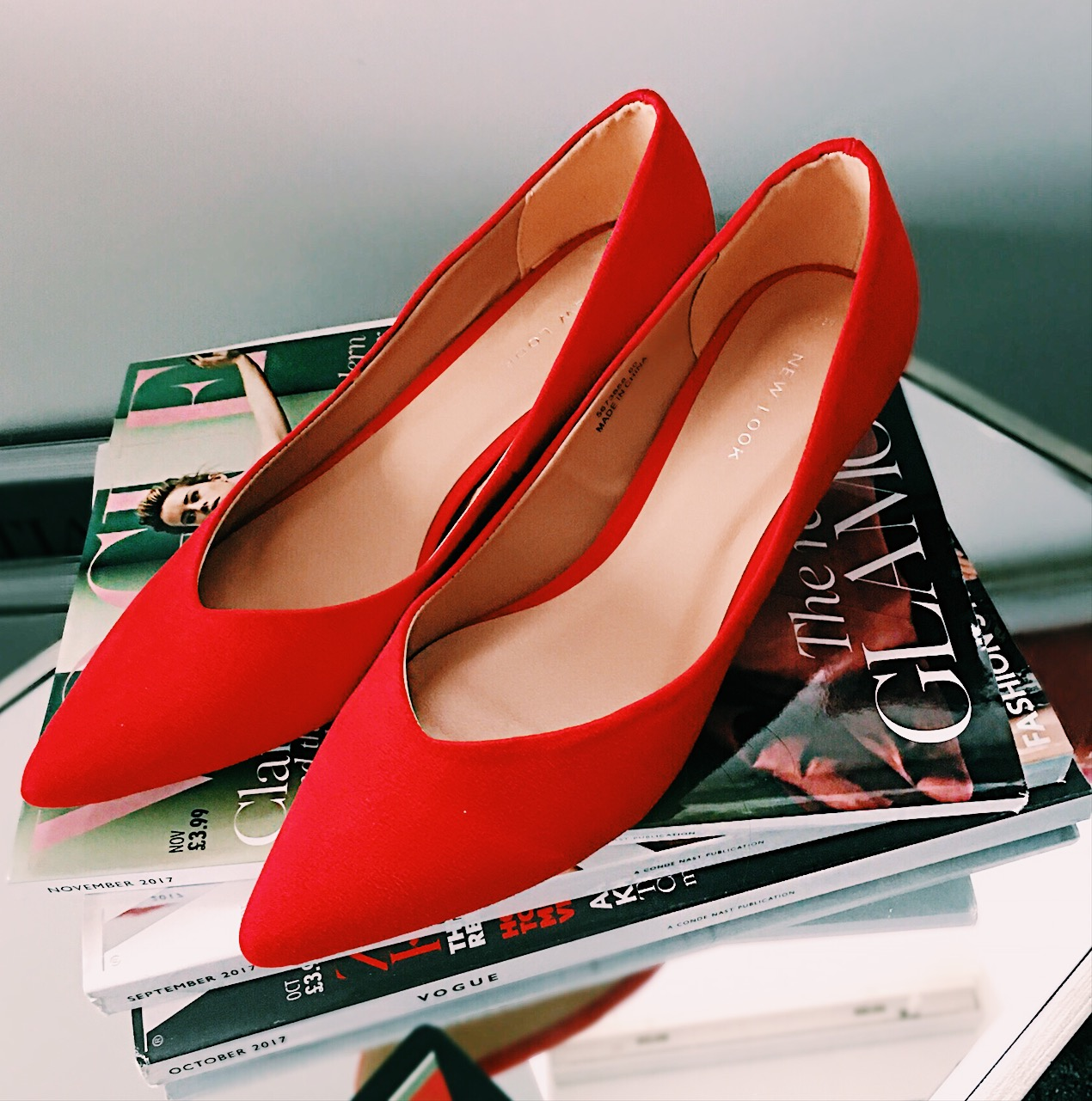 red kitten heels