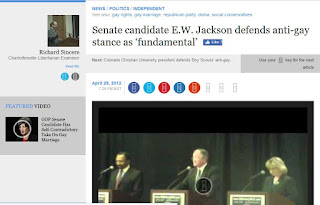 E.W. Jackson gay marriage Senate debate Virginia politics