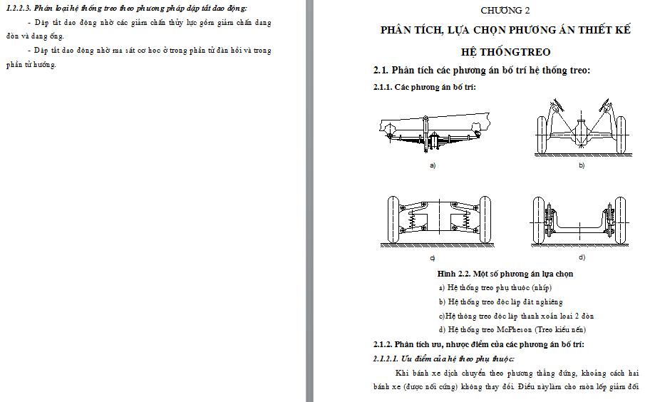 phương án thiết kế hệ thống treo cho xe du lịch 7 chỗ