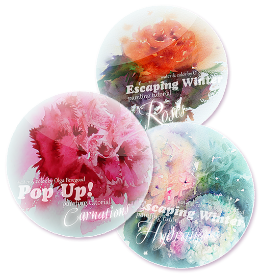 Collection of floral watercolor painting tutorials by Olga Peregood