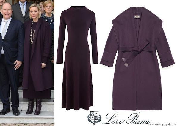 Princess Charlene wore LORO PIANA Canary long sleeved dress and Raymond Baby Cashmere coat