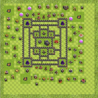 War Base Town Hall Level 9 By Rafaelkkjjjh (Caroline TH 9 Layout)