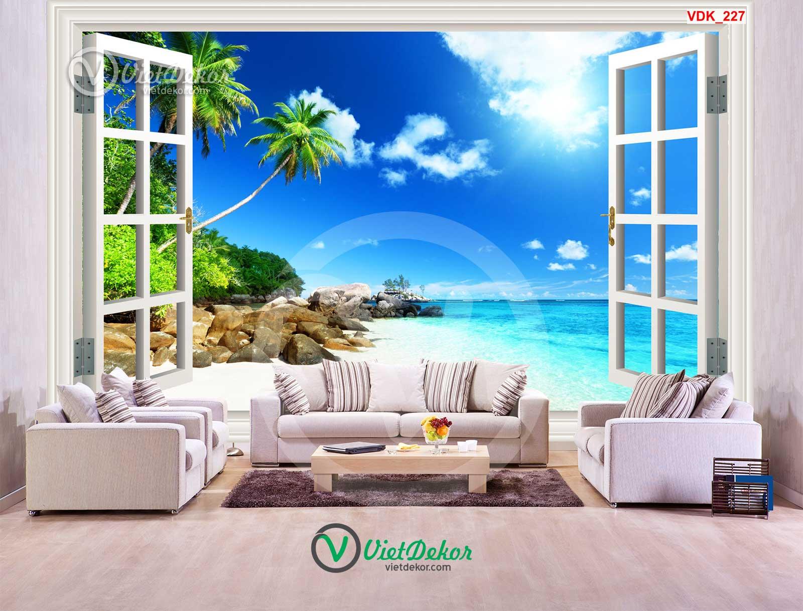 Tranh dán tường 3d cửa sổ cảnh biển khơi
