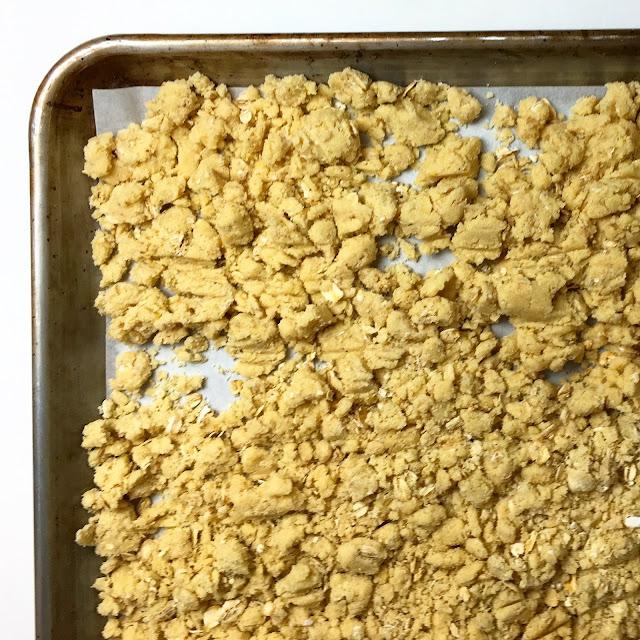 Tray of Unbaked Vanilla Polenta Oatmeal Streusel