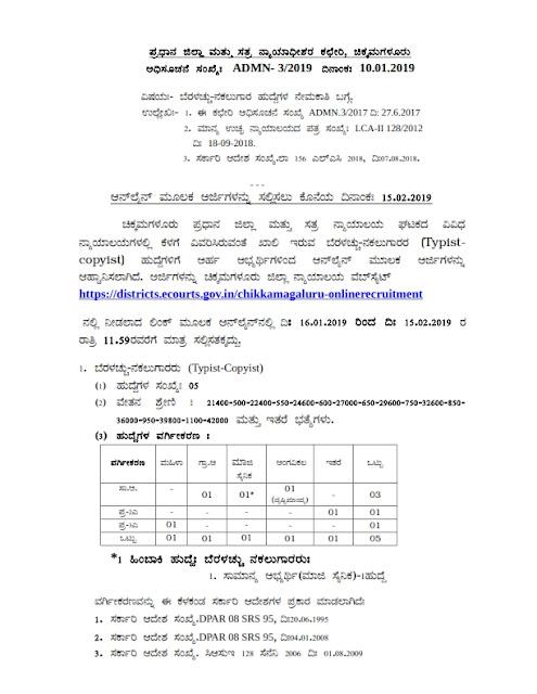 Typist-Copyist 5 post in District Court, Chikkamagaluru