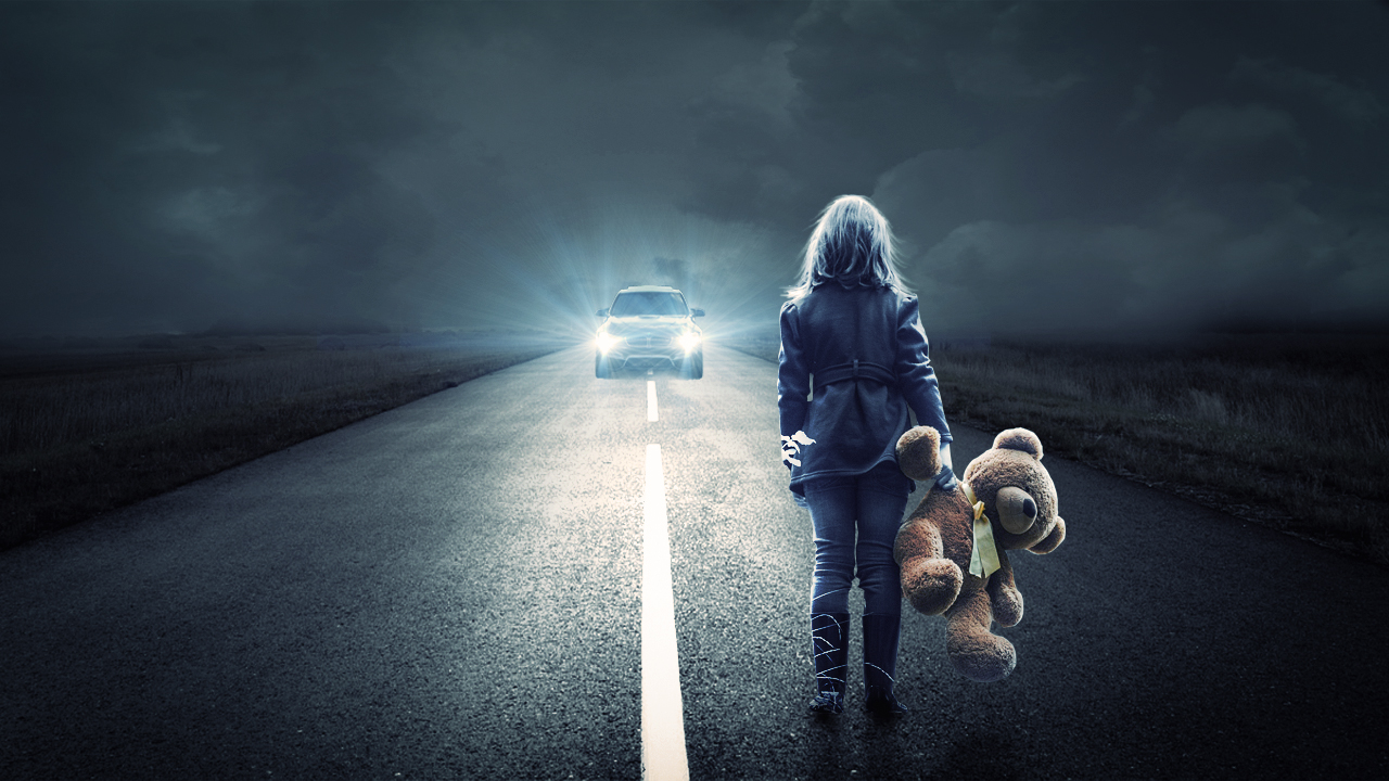 Alone Girl On Road Photoshop Manipulation - Baponcreationz-5705