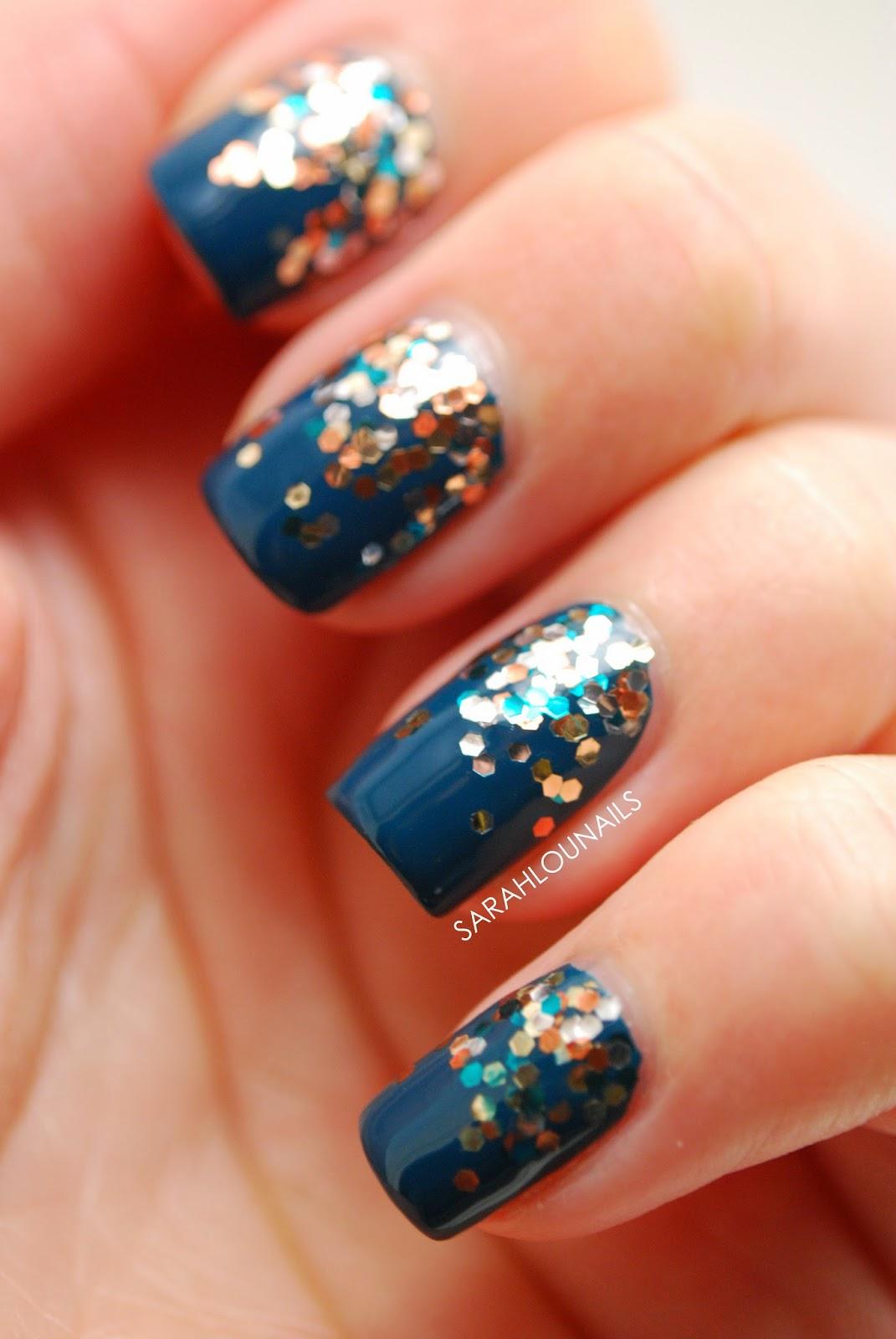 Blue sparkle acrylic nails
