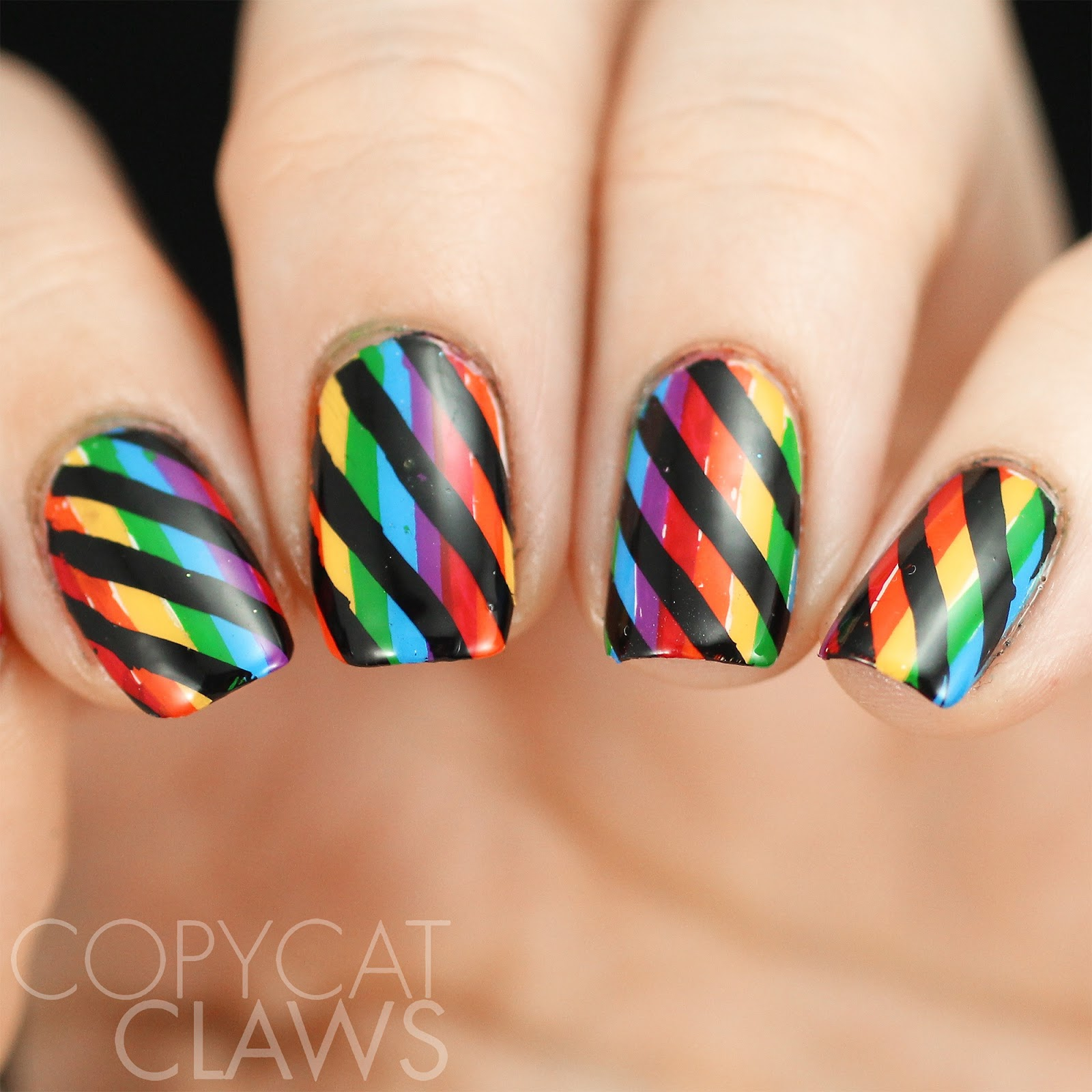 Copycat Claws Blue Color Block Nail Art: Copycat Claws: Nail Crazies Unite
