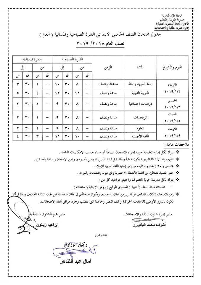 جدول امتحانات الصف الخامس الابتدائي محافظة الأسكندرية 2019 نصف العام